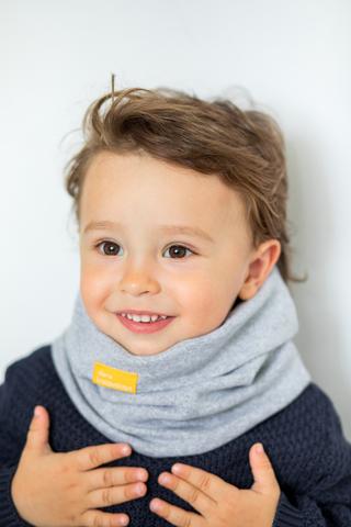 детский снуд-горловинка из хлопка гладкий серый меланжевый
