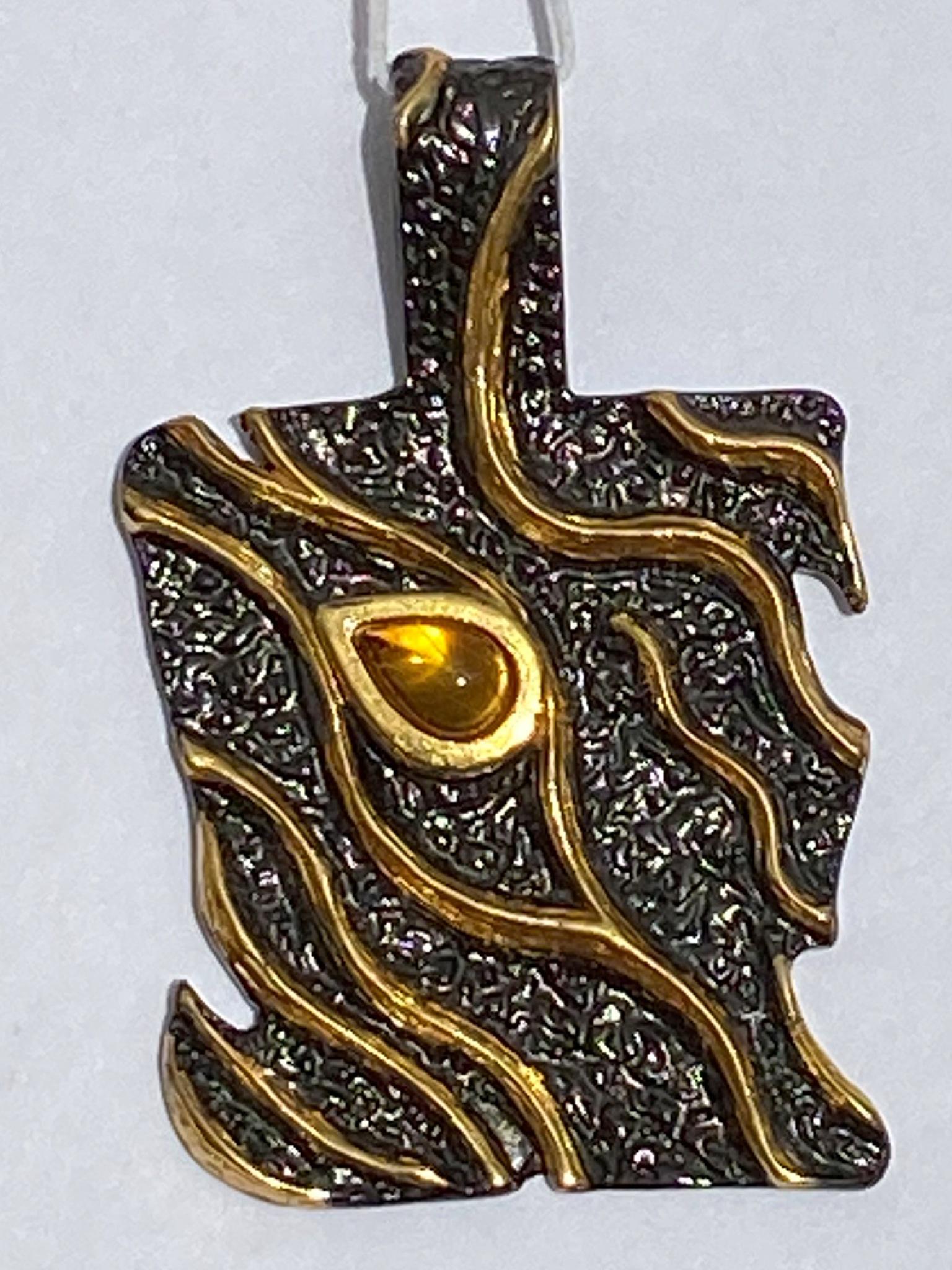 Тейма-черный(подвеска  из серебра)