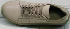 Спортивные кожаные туфли кроссовки осенние женские Markos 1523 All Beige.