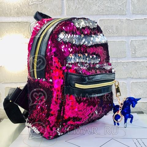 Рюкзак в двусторонних пайетках меняет цвет Фуксия-Зеркальный с брелком Единорогом (26x20x10 см) Классика
