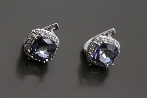 Серебряные серьги с мистик аметистом 2405936135