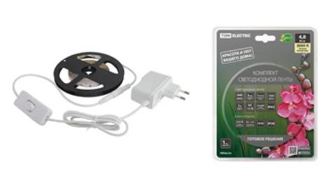 Комплект светодиодной ленты SMD2835-60 LED/м-12 В-4,8 Вт/м-IP20-3000 К (3 м), 18 Вт TDM