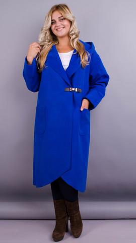 Сарена. Женское пальто-кардиган больших размеров. Электрик.