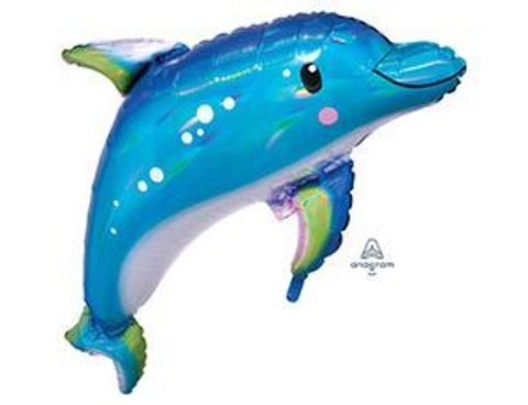 Фольгированный шар Дельфин голубой переливы