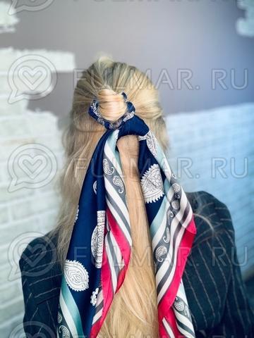 Платок с резинкой модный аксессуар для волос Море (цвет: синий, малиновый)