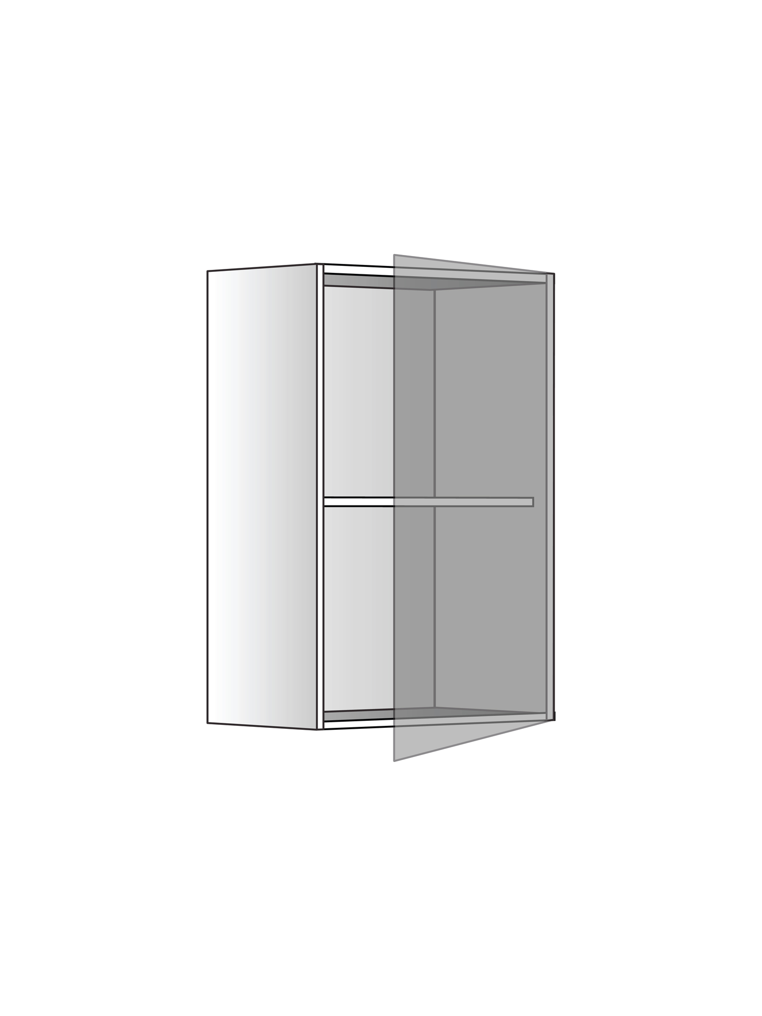 Верхний шкаф c одной полкой, 720Х450 мм