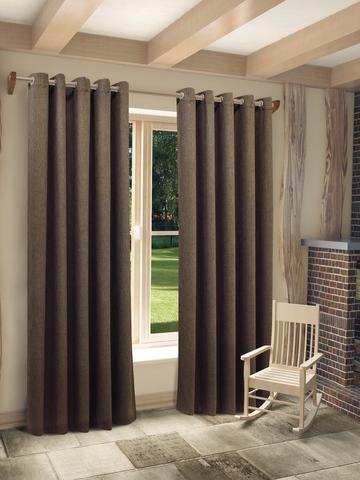 Готовая штора из рогожки Хевен  коричневый