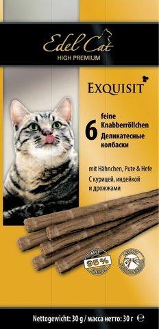 Лакомство Edel Cat деликатесные колбаски с курицей, индейкой и дрожжами для взрослых кошек