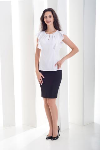 Ася. Современная деловая офисная блуза. Белый