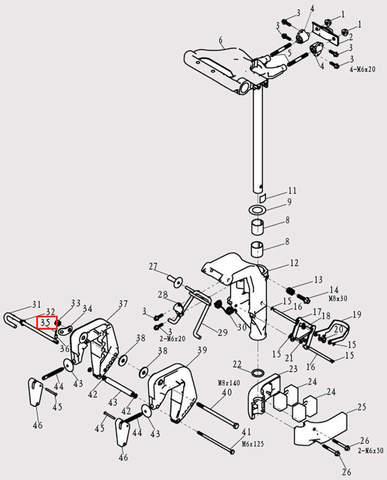 Штифт штыря деферента для лодочного мотора F9.8 Sea-PRO (13-35)