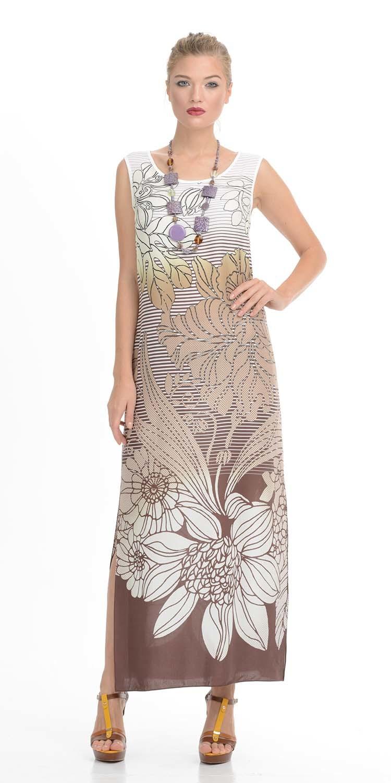Платье З795-342 - Двуслойное стильное платье прямого силуэта, свободно облегающее фигуру и длиной до щиколоток, настоящая находка на разные непредвиденные ситуации. Платье выполнено в форме трапеции, расширяется книзу, по бокам идут разрезы до линии колен. Украшено геометрическим и растительным орнаментом, что делает его универсальным предметом гардероба для женщины любого возраста. Линия проймы подчеркивает красивую форму рук.