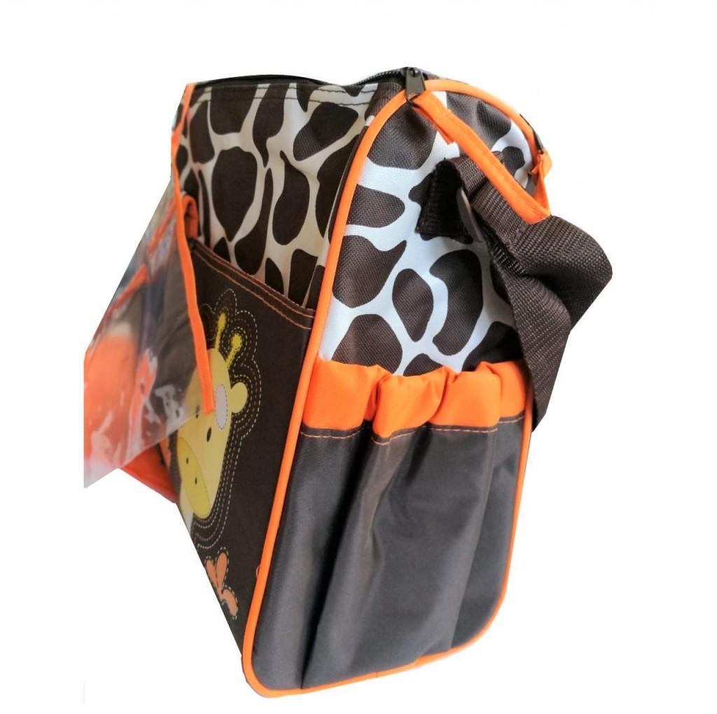 Картинка - Многофункциональная сумка для мам с пеленкой Зверята, цвет: оранжевый