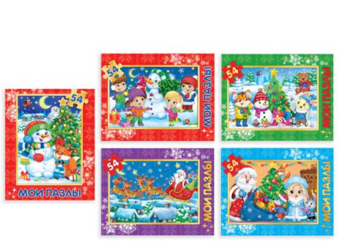 070-3939 Пазл детский «Новогодние картинки», 54 элемента, МИКС