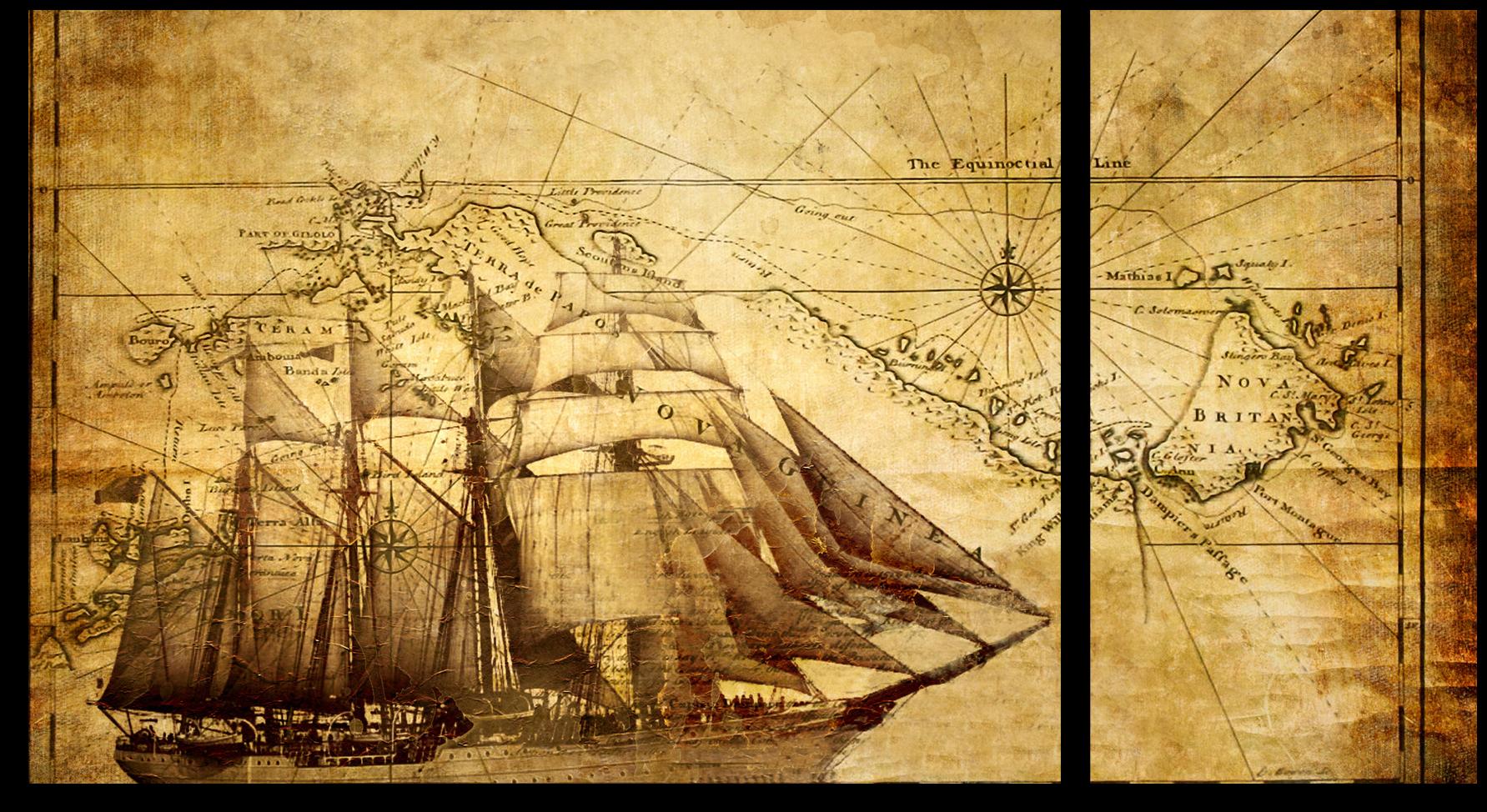 """Для мужчин Модульная картина """"Пиратская карта"""" М334.png"""