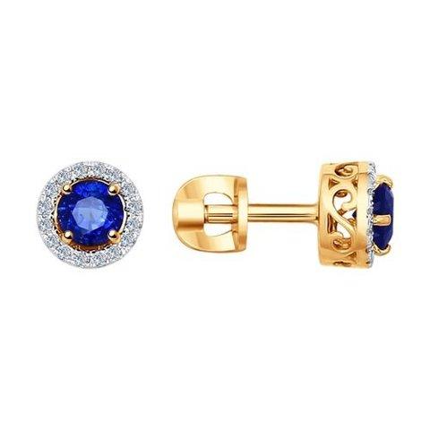 2020842 - Серьги-пусеты из золота с бриллиантами и сапфирами