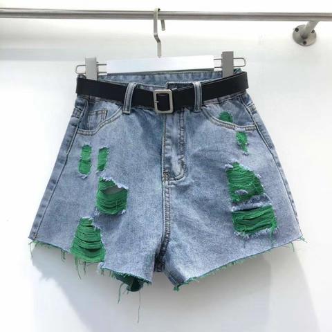 Джинсовые шорты, синий с зелёным