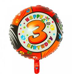 Шар-круг Happy Birthday с цифра 3