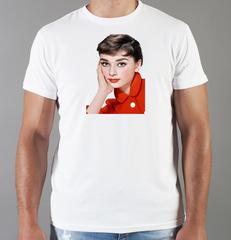 Футболка с принтом Одри Хепбёрн (Audrey Hepburn) белая 002