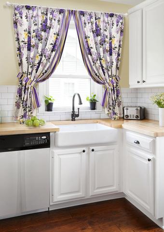 Готовый комплект штор для кухни с подхватами Мелодия сиреневый