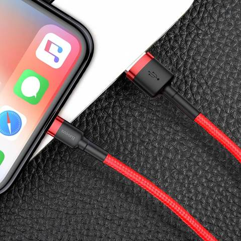 Кабель Baseus cafule Cable USB For lightning 2.4A 1M Red+Red