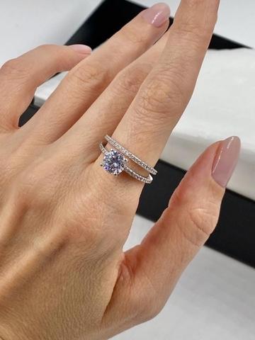 Кольцо двойное из серебра с цирконами арт.70426