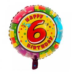 Шар-круг Happy Birthday с цифра 6