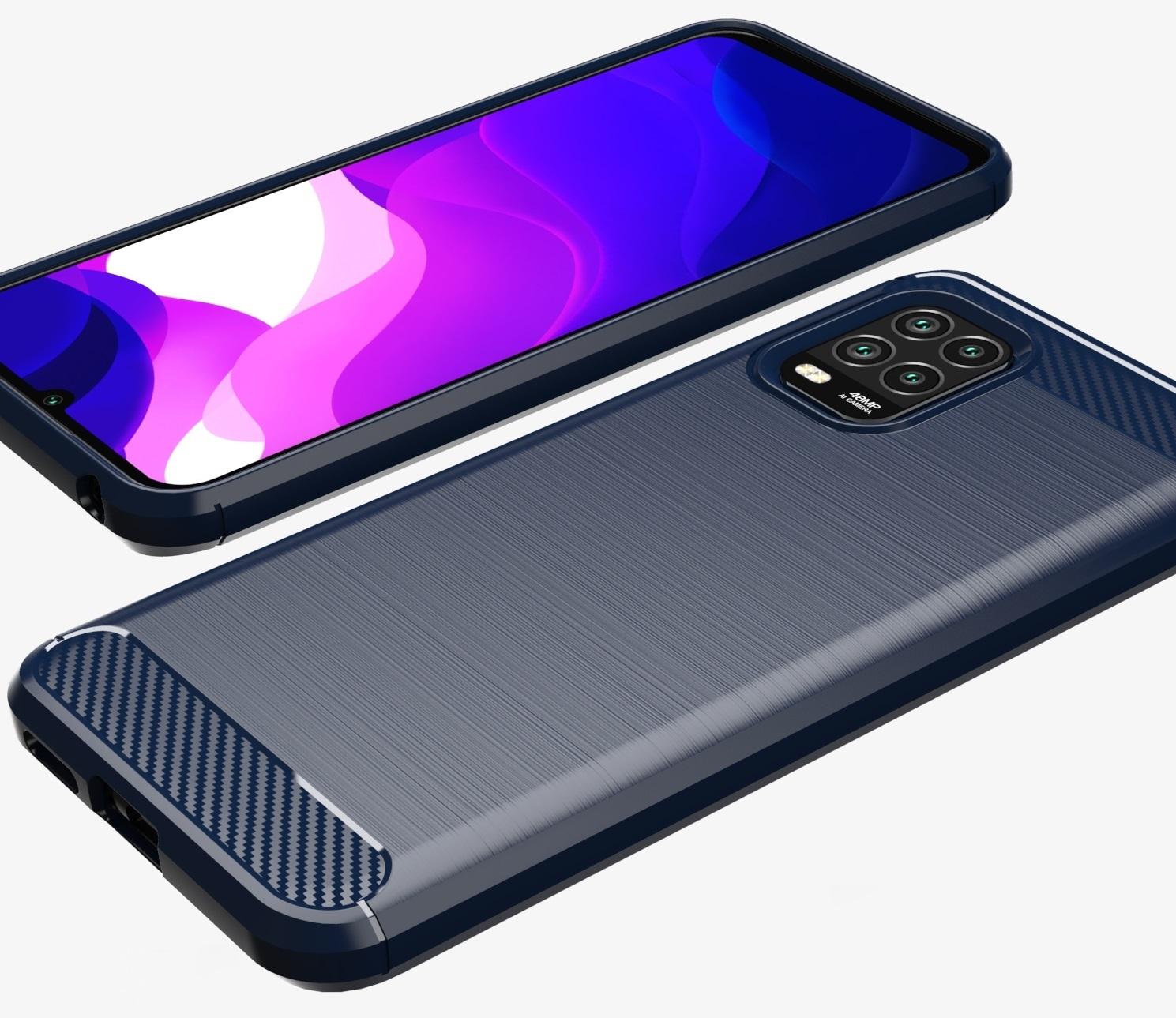 Чехол темно синего цвета для Xiaomi Mi 10 Lite, серии Carbon от Caseport