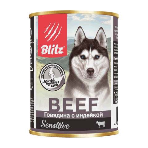 Blitz Консервы для собак с говядиной и индейкой