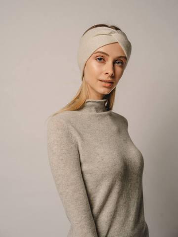 Женская повязка на голову молочного цвета из кашемира - фото 4