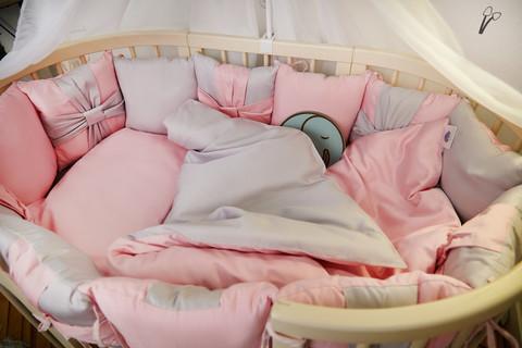 Комплект постельного в детскую кроватку Бантик Розовый с голубым