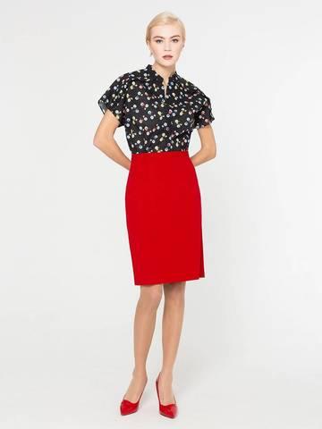 Фото красная классическая юбка прямого кроя на молнии - Юбка Б087-345 (1)