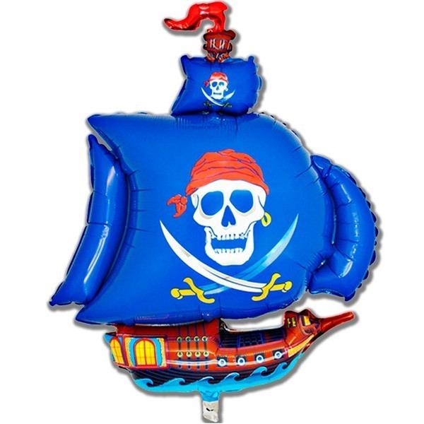 Фольгированный шар «Пиратский корабль», синий, 104см