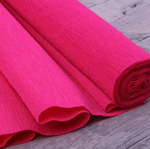 Бумага гофрированная, цвет 571 розовая фуксия, 180г, 50х250 см, Cartotecnica Rossi (Италия)