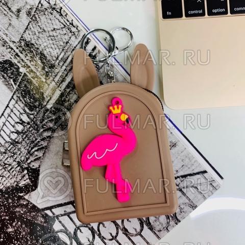 Детская силиконовая ключница-для мелочи кошелек-брелок с ушами зайца Фламинго (цвет: коричневый)