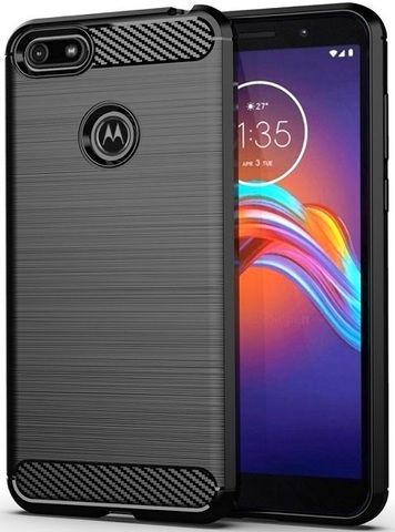 Чехол Motorola Moto E6 play цвет Black (черный), серия Carbon, Caseport