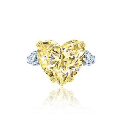 Кольцо из серебра с желтым цирконом в форме сердца в стиле KoJewelry 4892