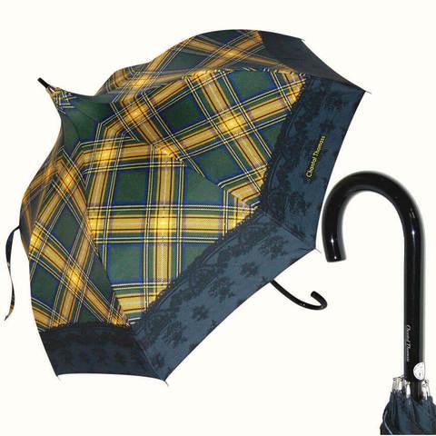 Женский зонт-трость в клетку с кружевом, винтаж