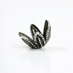 Винтажный декоративный элемент - шапочка 8х5 мм (оксид серебра)