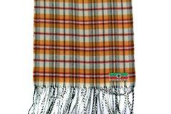 Шерстяной шарф рыжий в клетку 30711