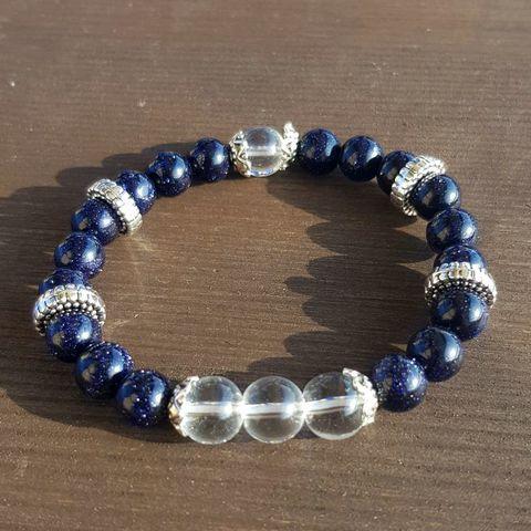 Браслет из натуральных камней: Синий авантюрин и горный хрусталь