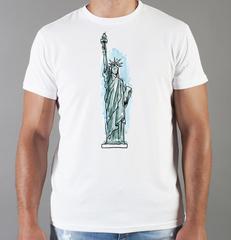 Футболка с принтом США, Статуя Свободы (USA/ Statue of Liberty ) белая 0015