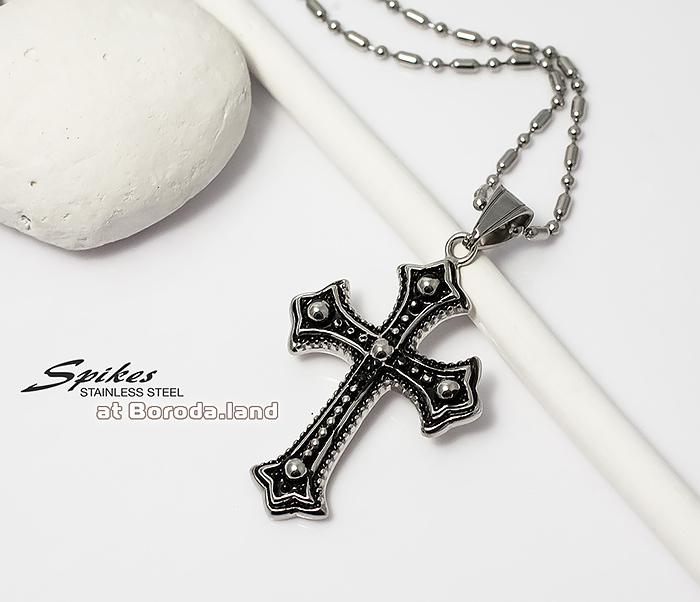 SSPM-5998 Красивая подвеска крест «Spikes» с чернением из ювелирной стали