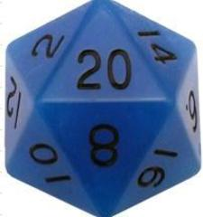 Mega Acrylic D20: Glow Blue with Black Numbers