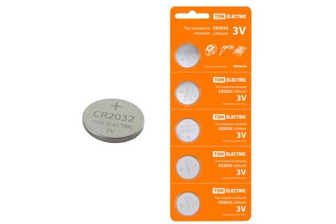 Элемент питания CR2032 Lithium 3V BP-5 TDM