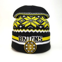 Вязаная шапка хоккей НХЛ Бостон Брюинз  (Hockey NHL Boston Bruins) с орнаментом