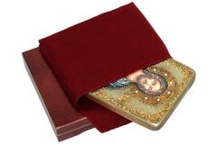 Инкрустированная икона Господь Вседержитель 20х15см на натуральном дереве в подарочной коробке