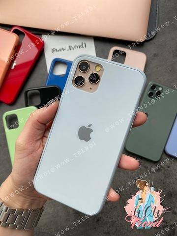Чехол iPhone 11 Pro Max Glass Pastel color Logo /mist blue/