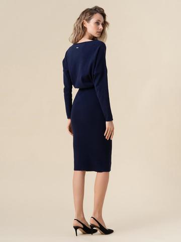 Женское платье темно-синего цвета из 100% кашемира - фото 4