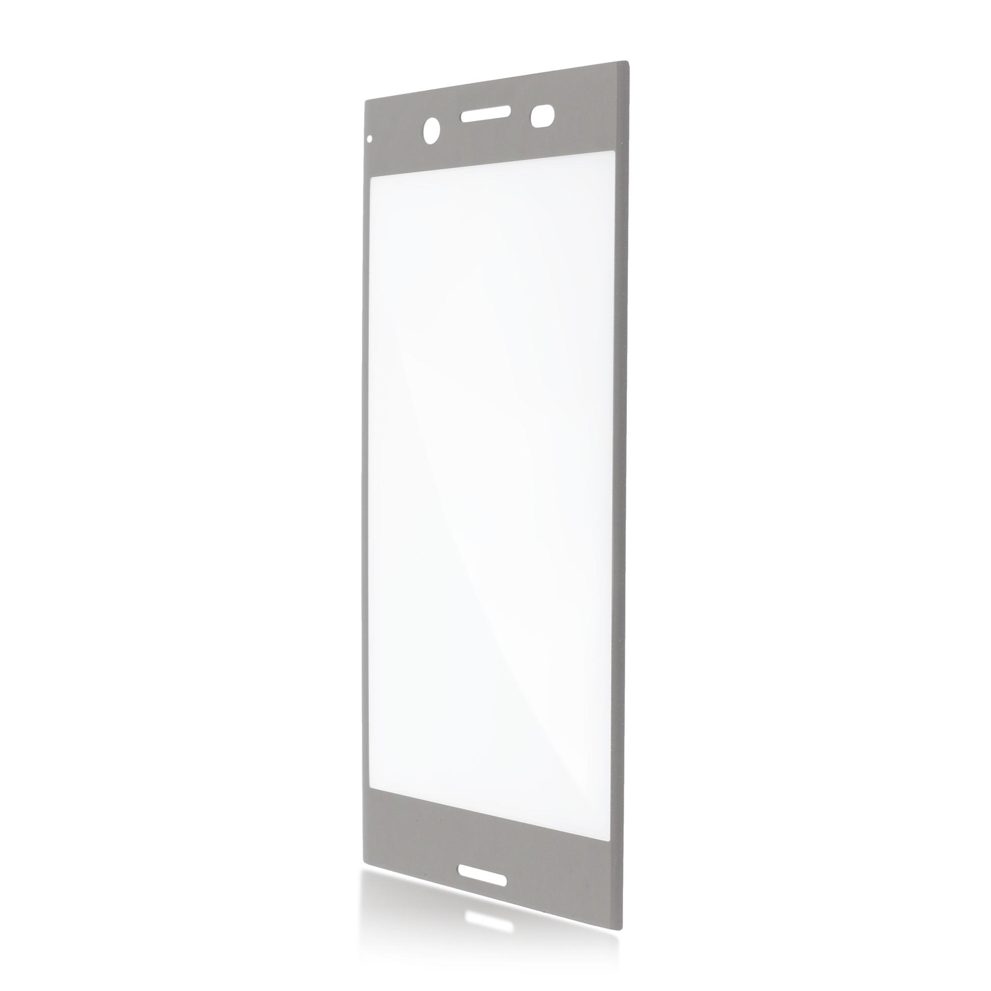 Полноэкранное защитное стекло для смартфона XZ Premium серебристого цвета