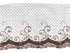 Вышивка на сетке, ПРАВАЯ, 18 см, шоколад/кофейно-розовый, м